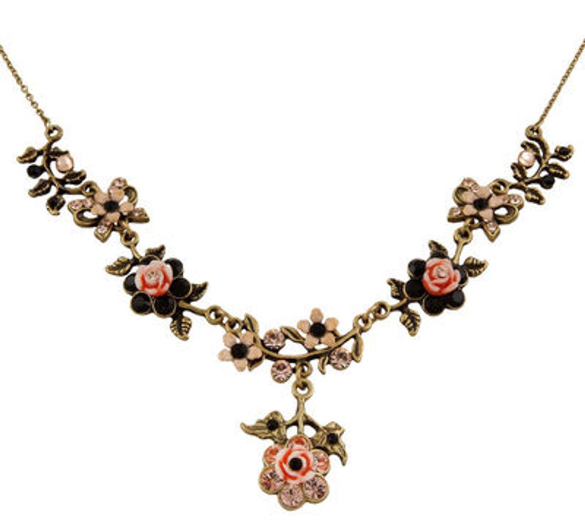 Michal Negrin Classic Vintage Gold Flowers Necklace - 102-107320