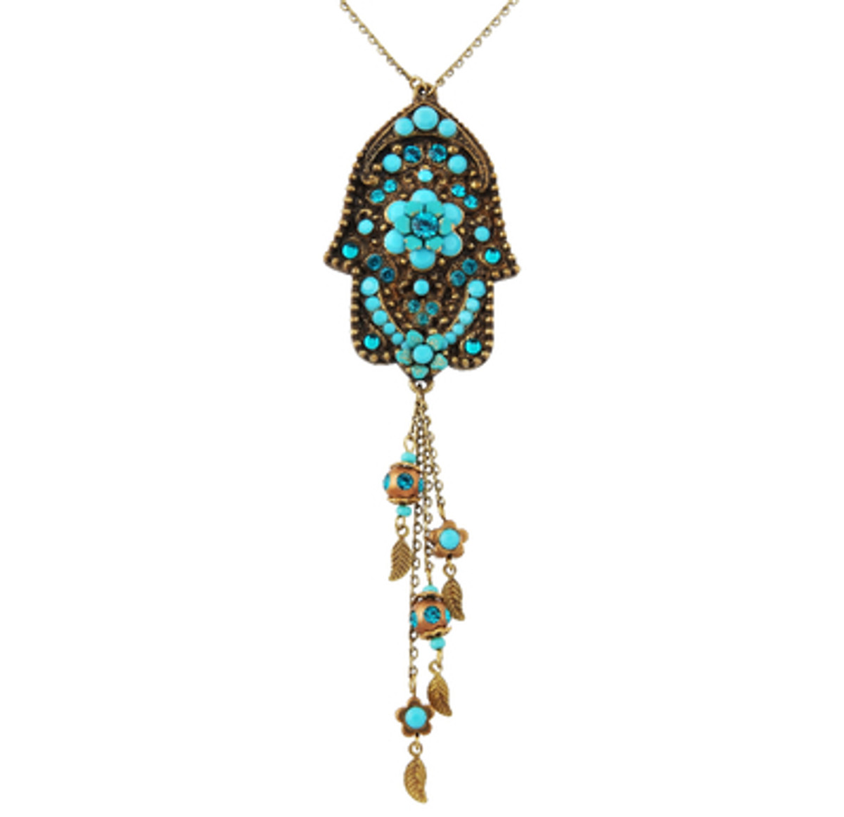 Evil Eye Hamsa Necklace With Dangle Leaves - Multi Color
