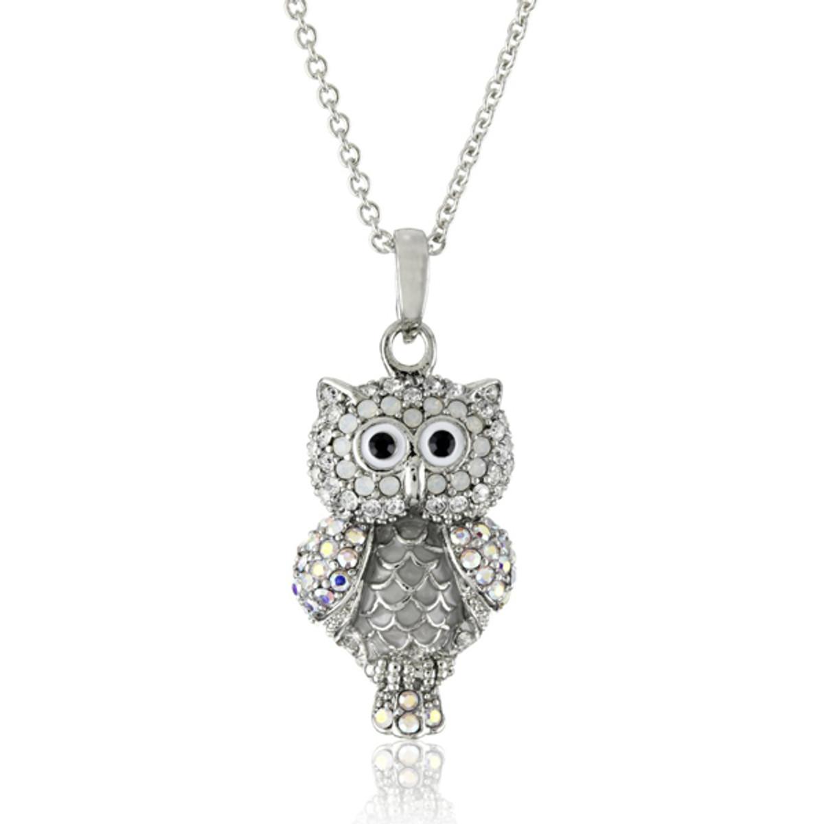Hamilton Crawford Crystal Owl Silver Necklace
