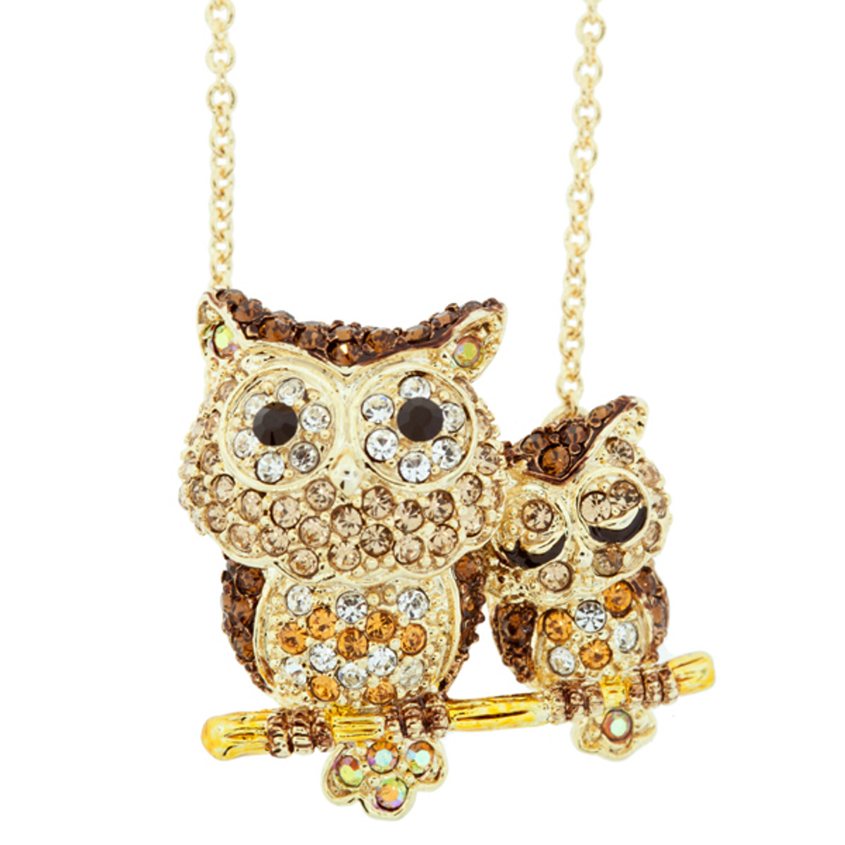 Andrew Hamilton Crawford Necklace Double Owl Necklace Gold