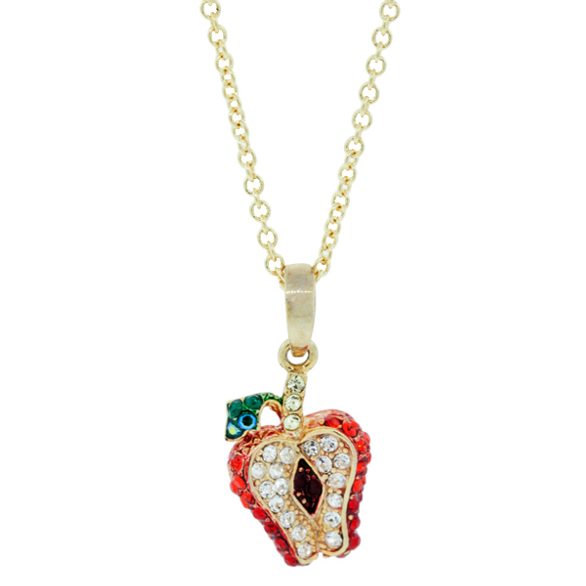 A Special Tiny Apple Pendant Gold Necklace From Andrew Hamilton Crawford Jewelry