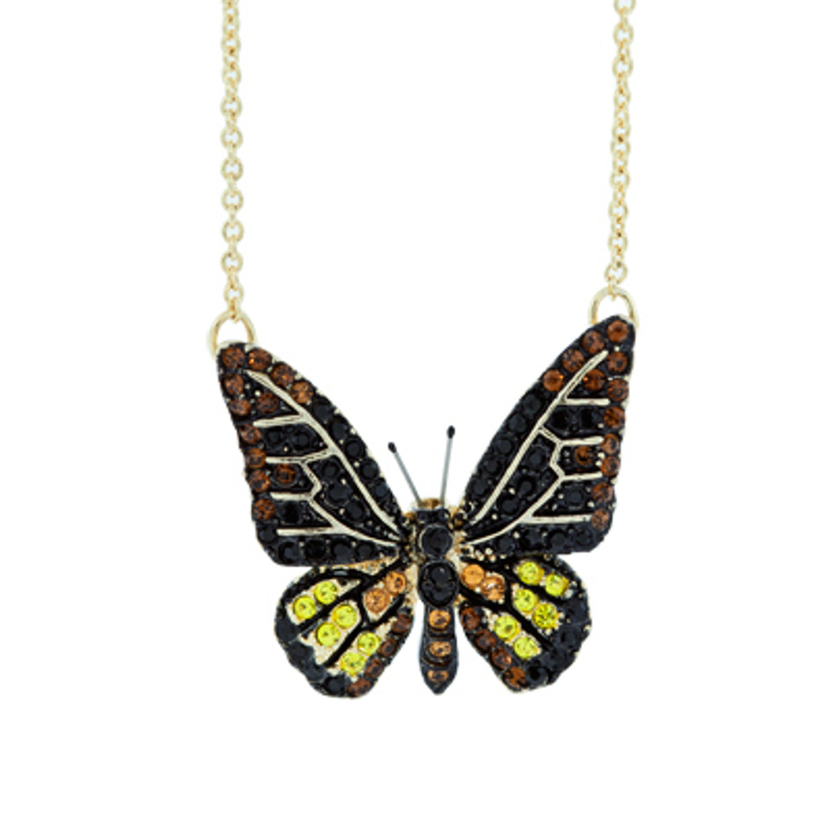 A Lovely Small Crystal Butterfly Necklace Yellow Necklace From Andrew Hamilton Crawford Jewelry