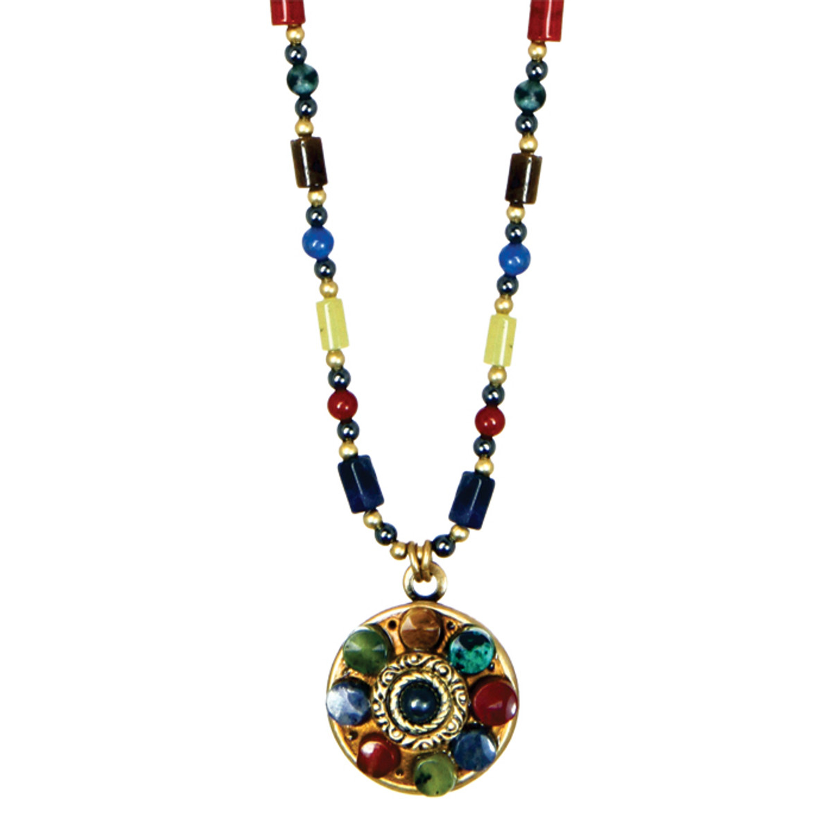 Michal Golan Necklace - Durango Small Round Pendant Beaded
