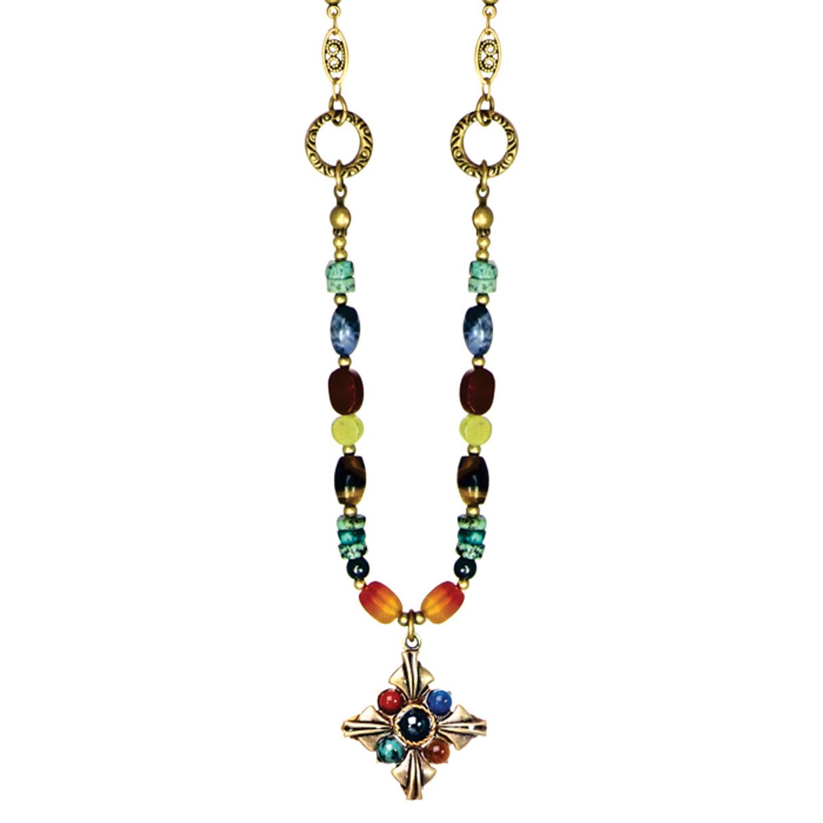 Michal Golan Necklace - Durango Small Diamond Pendant With Beaded Chain