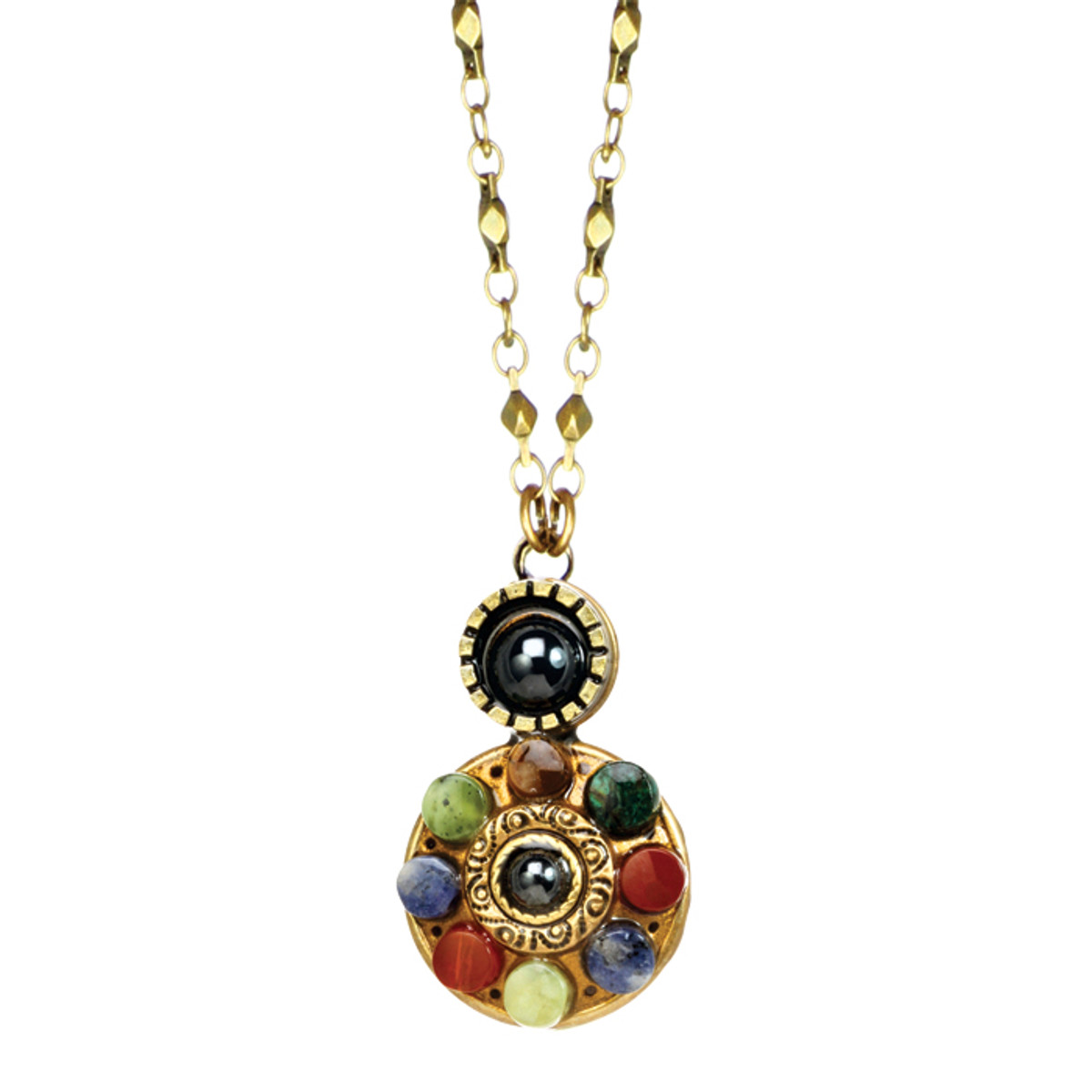 Michal Golan Necklace - Durango Double Round Pendant With Chain