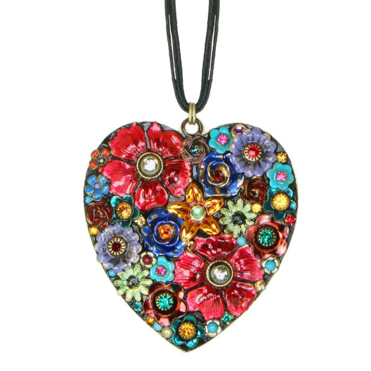 Eden Large Heart Pendant With Leather Strip