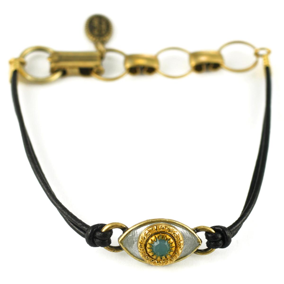 Evil Eye Bracelet- Silver, Medium Eye With Turquoise Crystal Center