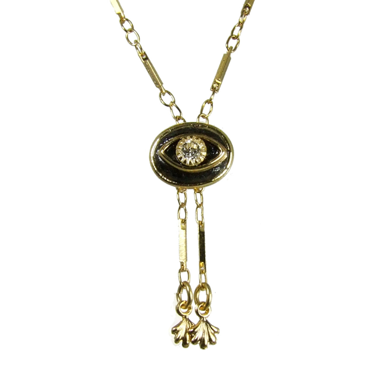 Evil Eye Necklace - Black Oval With Crystal Centered Eye & Double Dangles