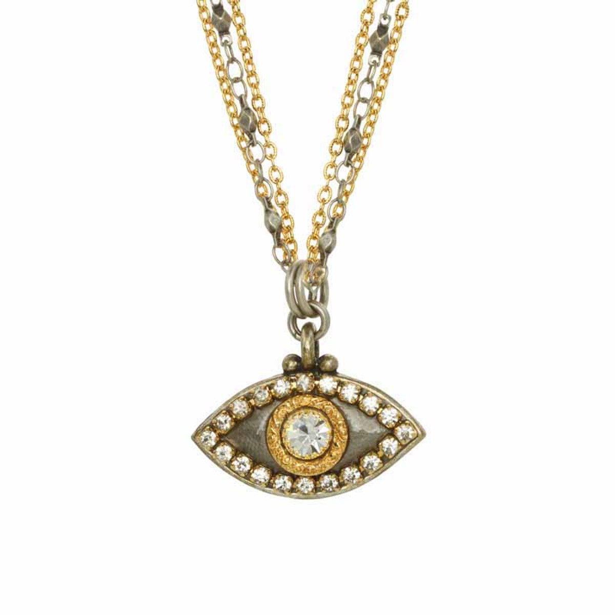Evil Eye Necklace - Gray, Medium Eye With Crystal by Michal Golan