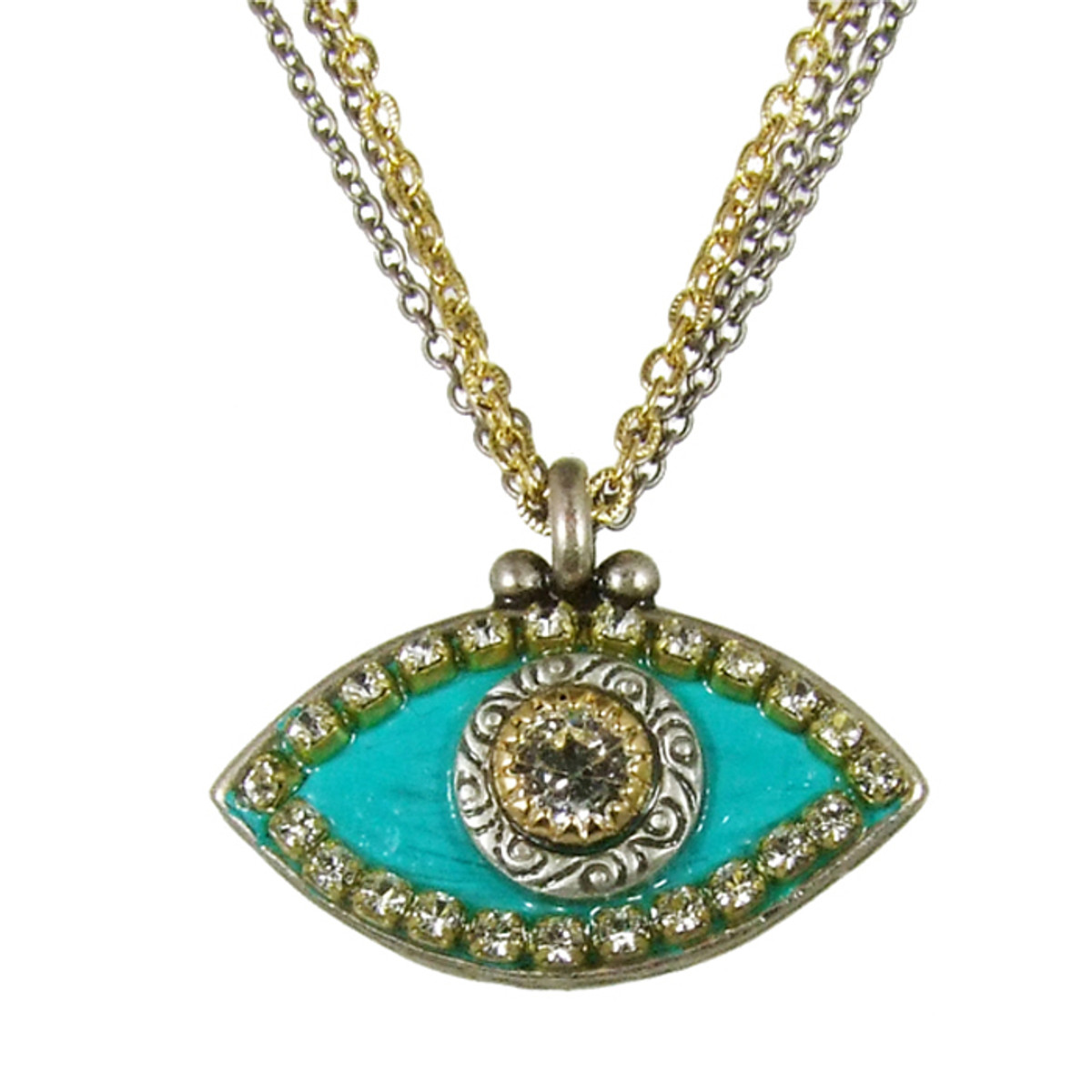 Evil Eye Necklace - Blue, Medium Eye With Crystal Edges & Center