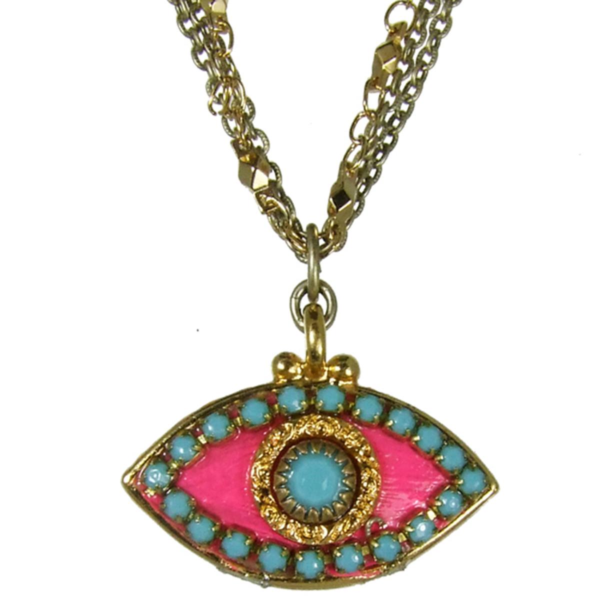 Evil Eye Necklace - Pink, Medium Eye With Blue Edges & Center