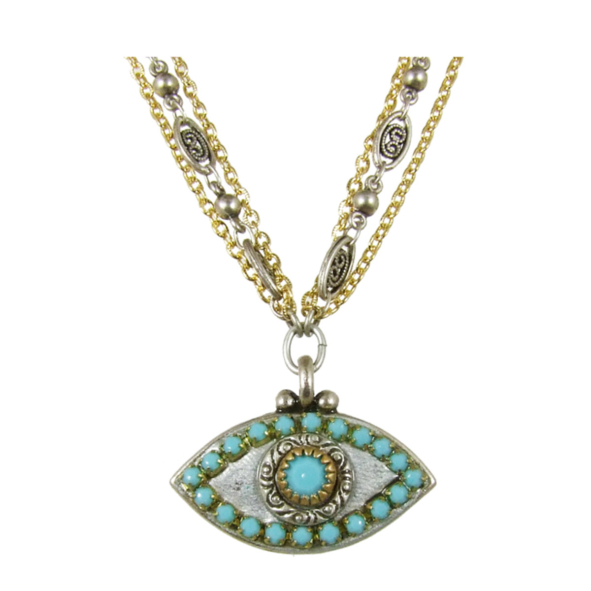 Evil Eye Necklace - Medium Eye With Blue Center & Edges