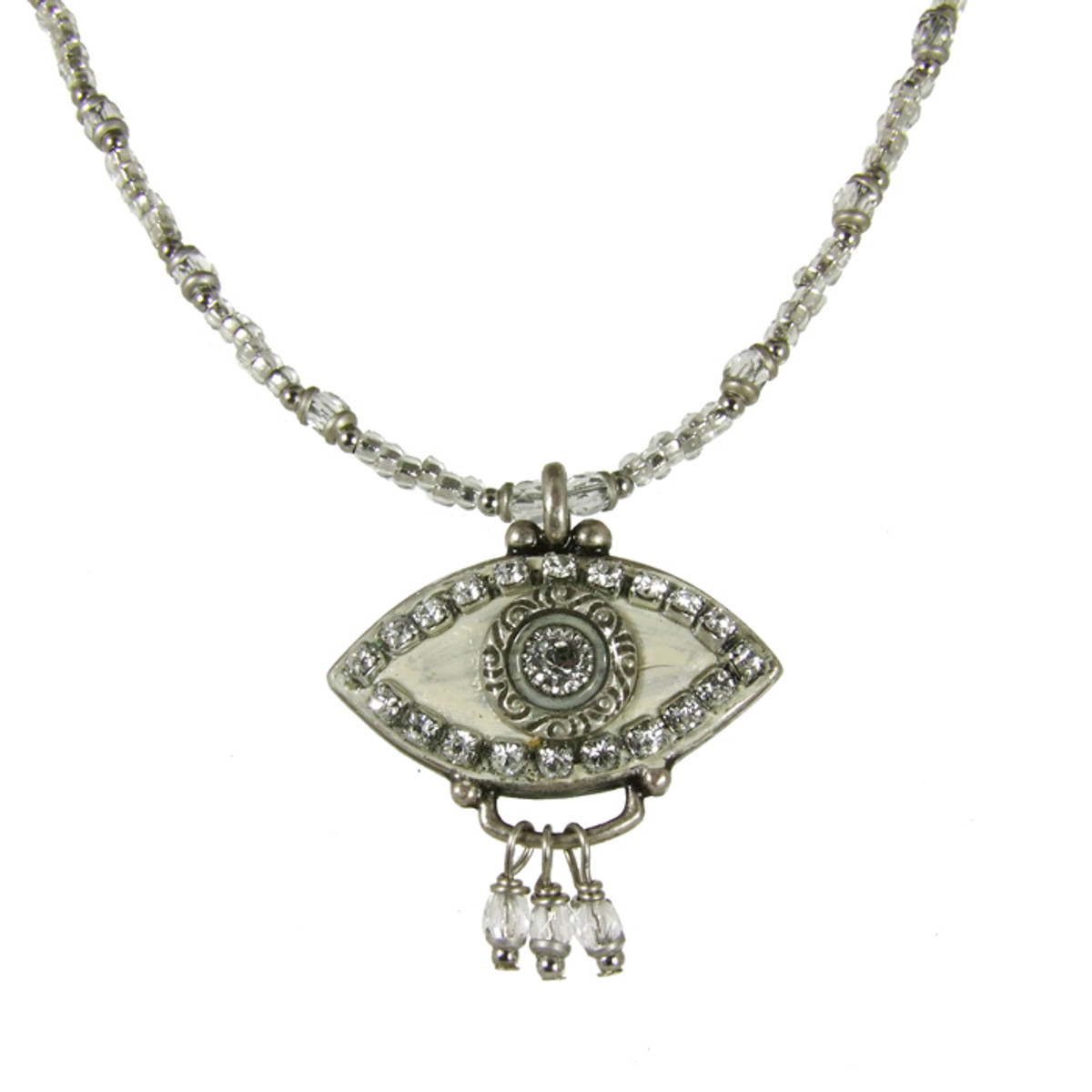Evil Eye Necklace - Silver Eye With Clear Crystals With Three Dangles