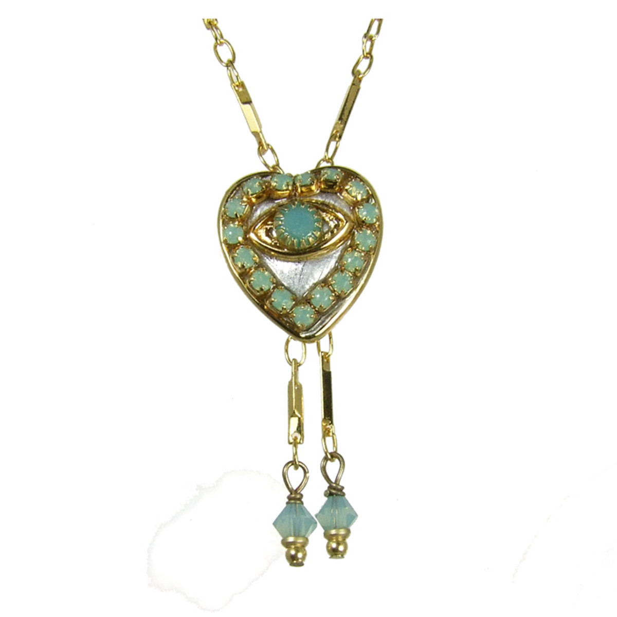 Evil Eye Necklace - Small, Silver Heart With Opal Crystals & Two Dangles