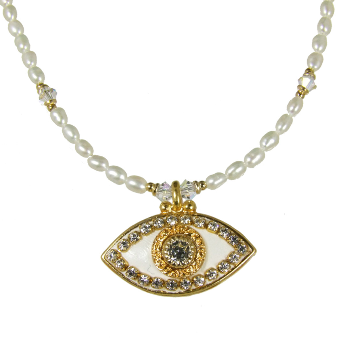 Evil Eye Necklace - Michal Golan White, Medium Eye With Clear Crystals On Single Beaded Chain
