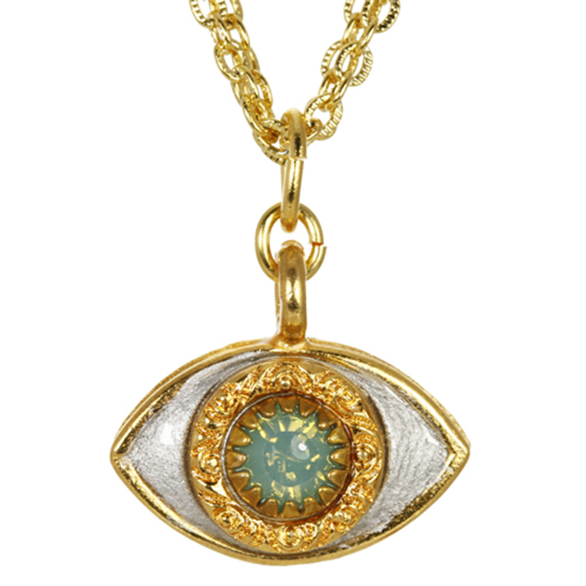 Evil Eye Necklace - Michal Golan Medium, Gray Eye With Aqua Crystal Center On Three Stranded Chain
