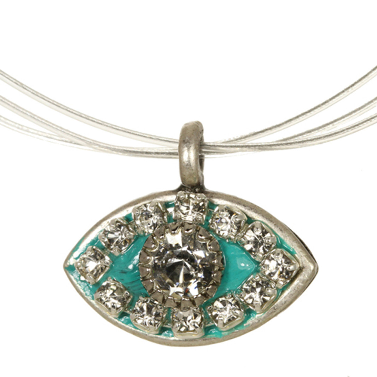 Evil Eye Necklace - Michal Golan Medium, Blue Green Eye With Clear Crystal Center And Edges On Wire Chain