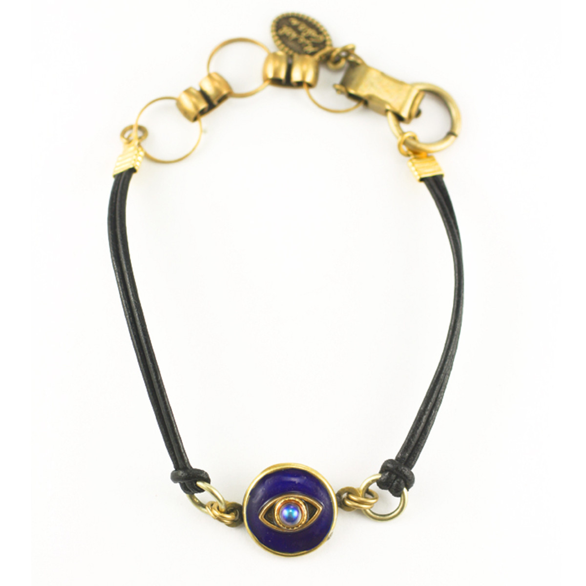Evil Eye Bracelet - Michal Golan Bracelet - Dark Blue, Small Round Pendant With Crystal Centered Eye