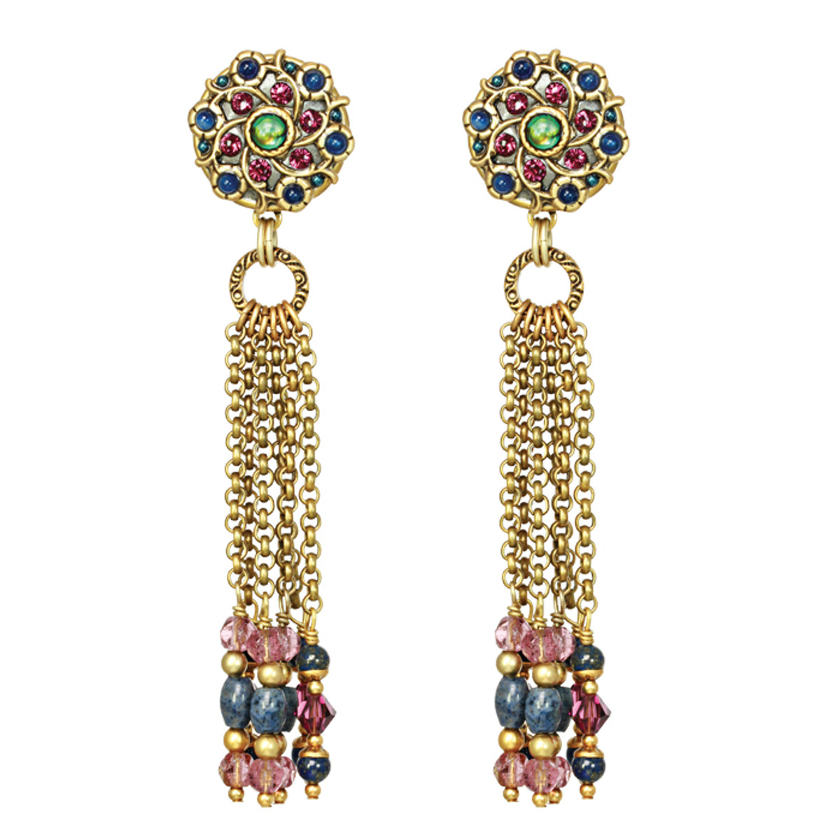 Michal Golan Clip on  Earrings - Florence Round With Tassels Click