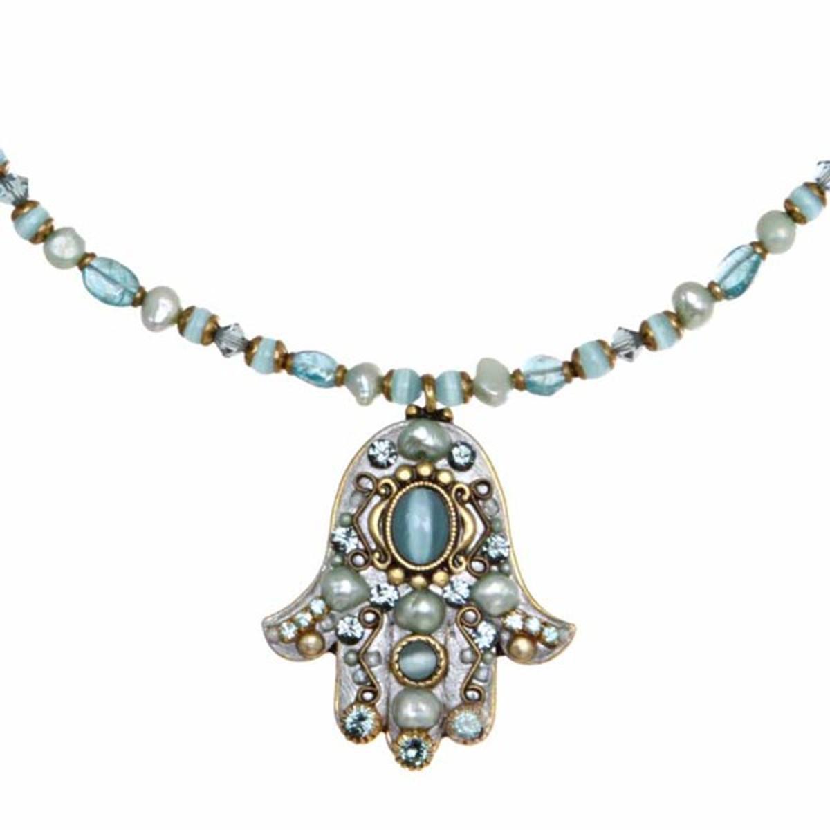 Michal Golan Hamsa Necklace - Large Blue Multi Hamsa