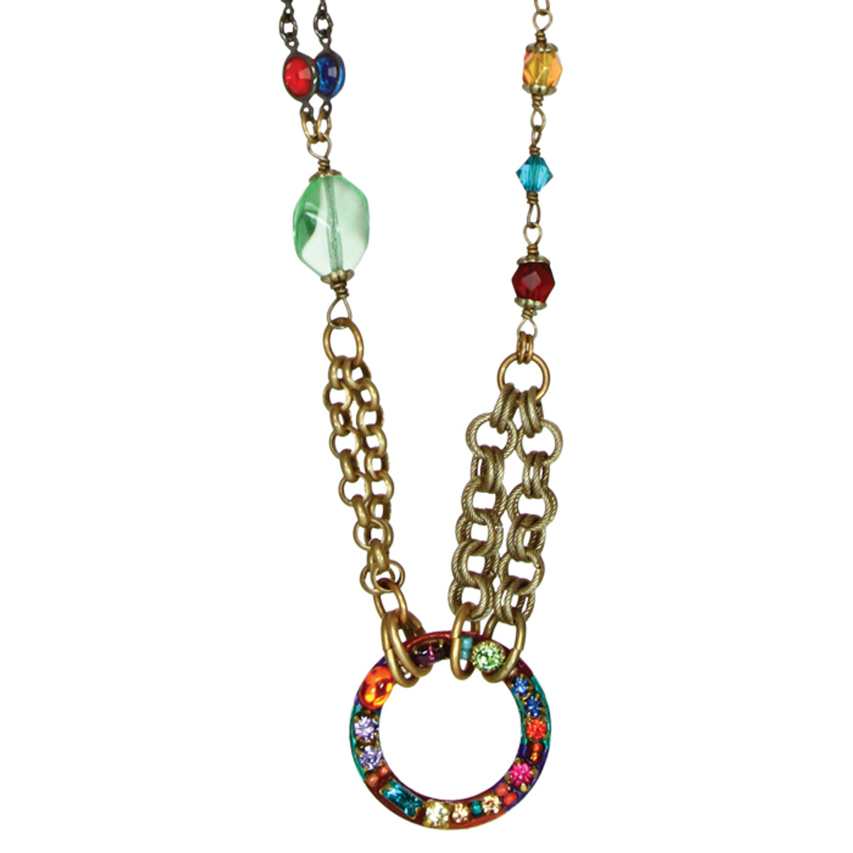 Michal Golan Necklace - Multibright Hoop Mix Chain With Beads