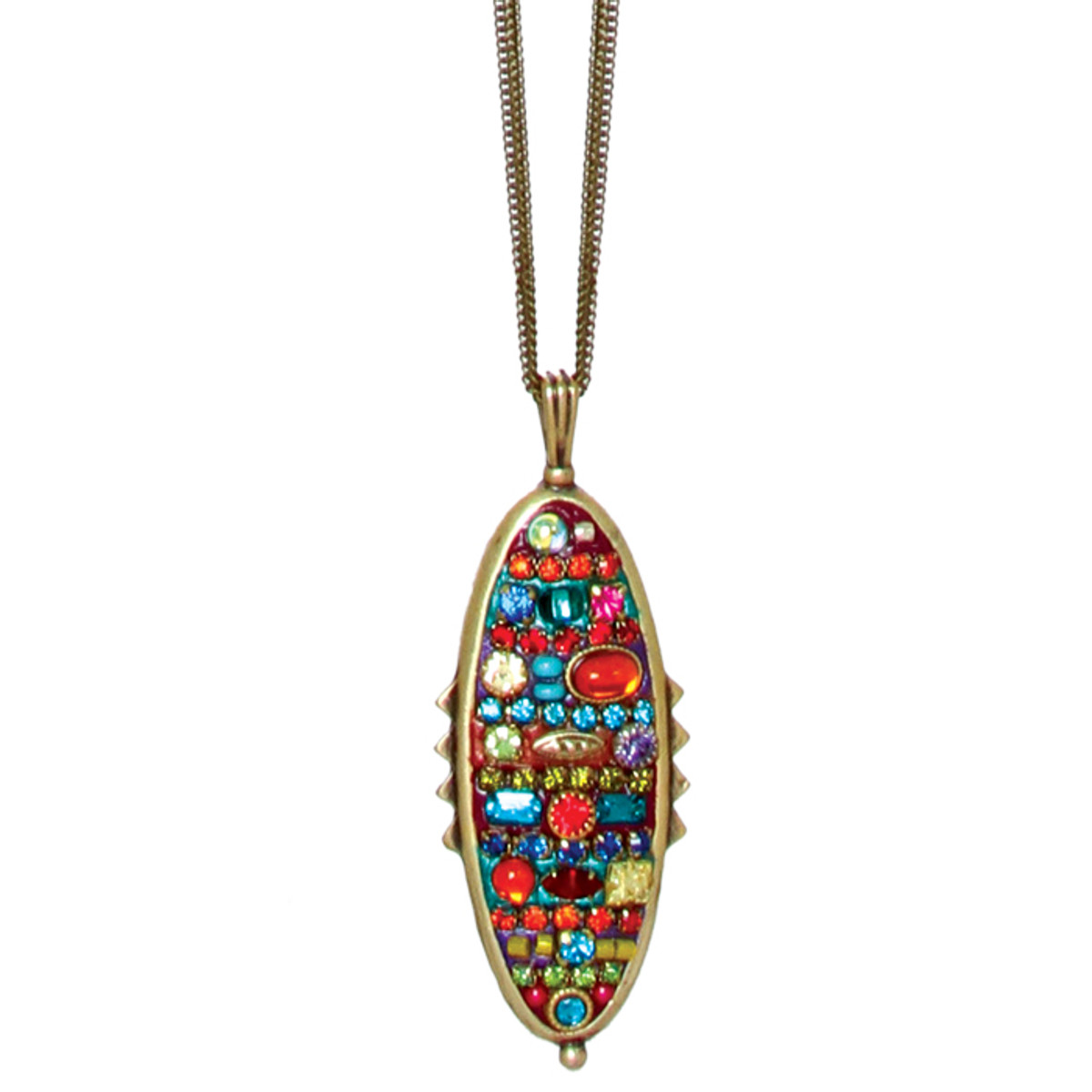 Michal Golan Necklace - Multibright Spiked Oval Thin Chains
