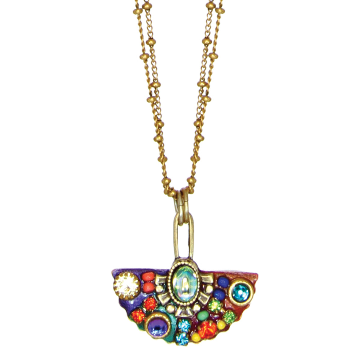 Michal Golan Necklace - Multibright Small Fan Pendant With Double Chains