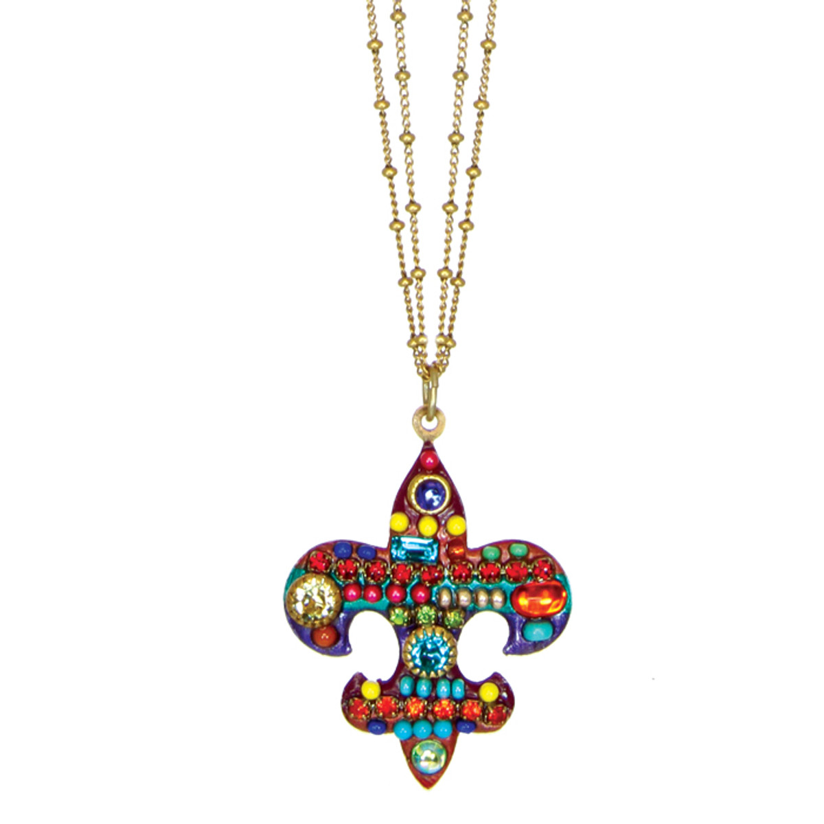 Michal Golan Necklace - Multibright Fleur De Lis Pendant On Double Chains