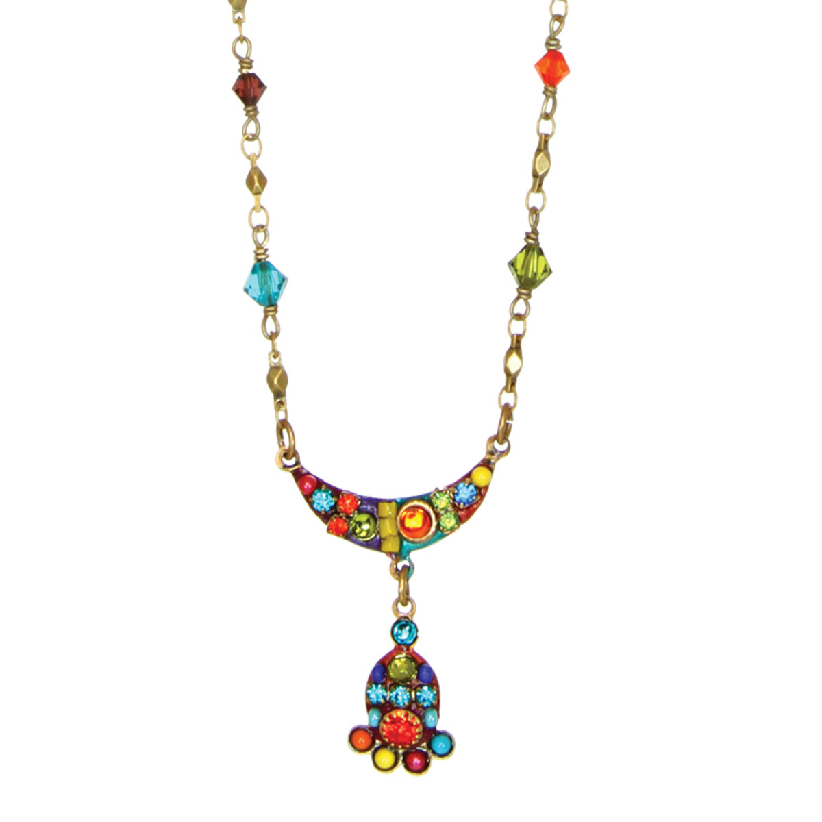 Michal Golan Necklace - Multibright Curve With Dangle Chain