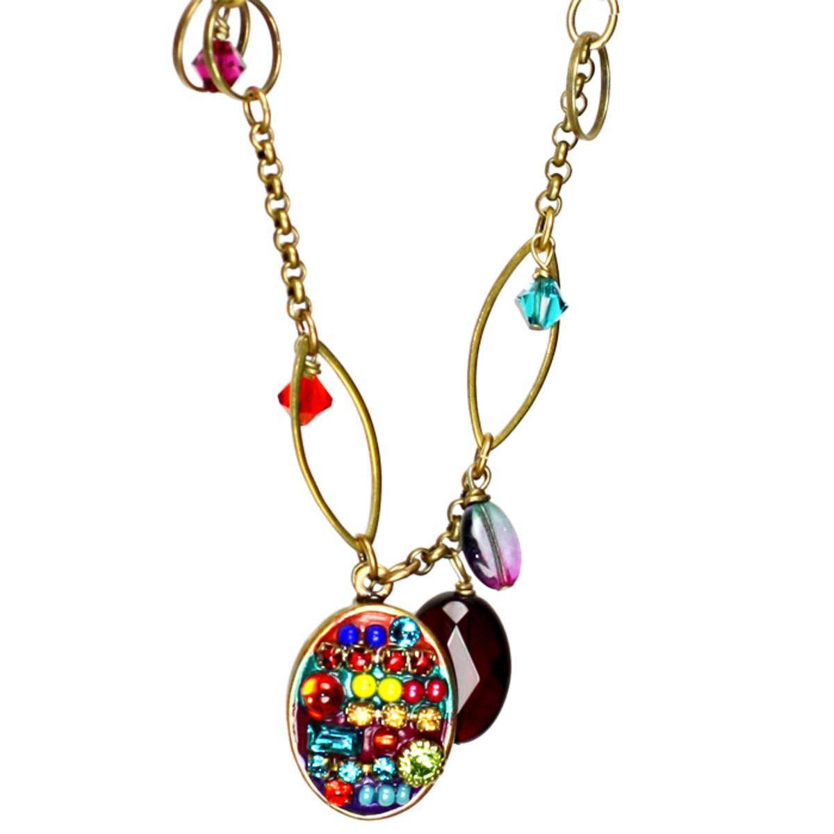 Michal Golan Necklace - Multibright Small Oval Chain Dangle Bead