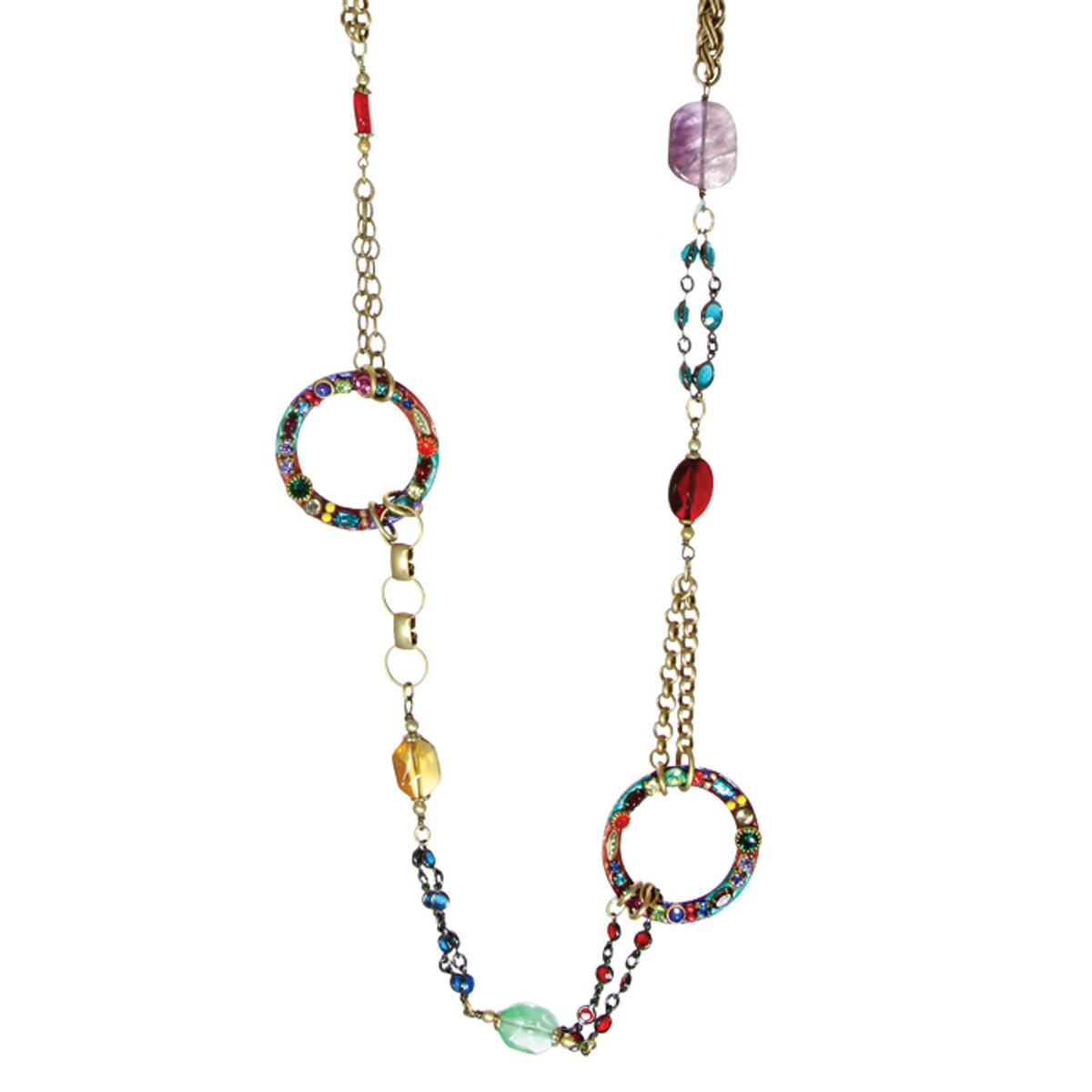 Michal Golan Necklace - Multibright Double Hoops With Mixed Bead Chain