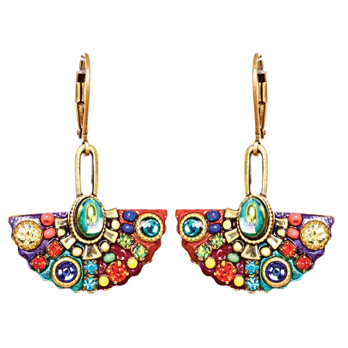 Michal Golan Earrings - Multibright Fan Pendant Dangle
