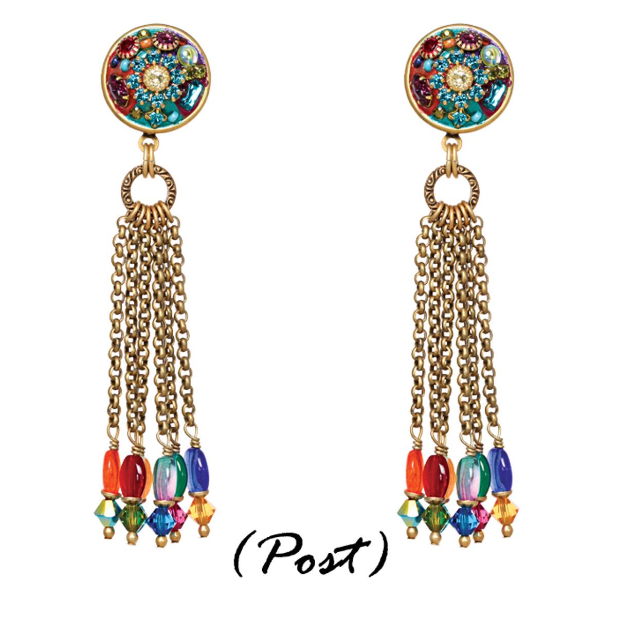 Michal Golan Earrings - Multibright Round Pendant With Tassel