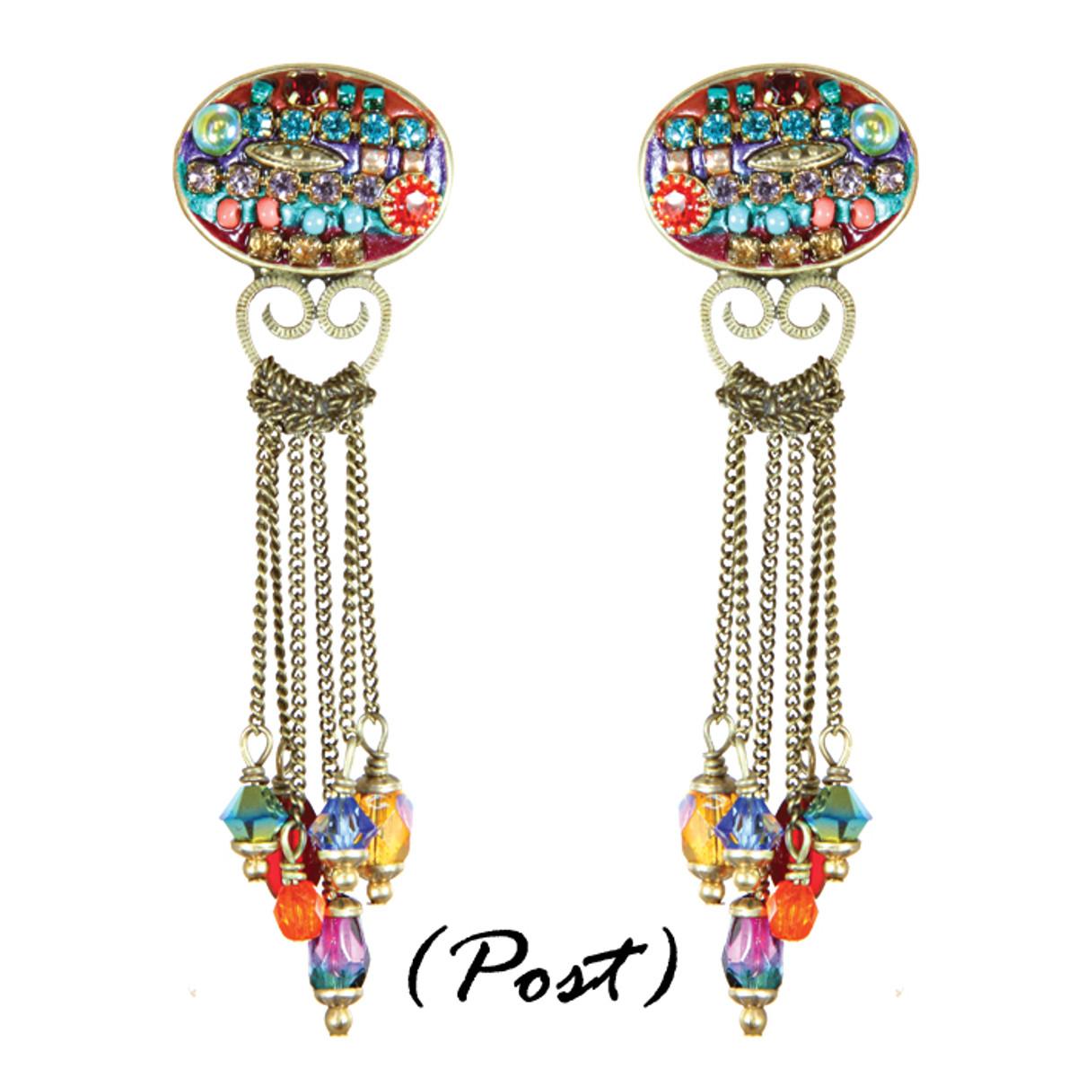 Michal Golan Earrings - Multibright Oval Chain Dangles