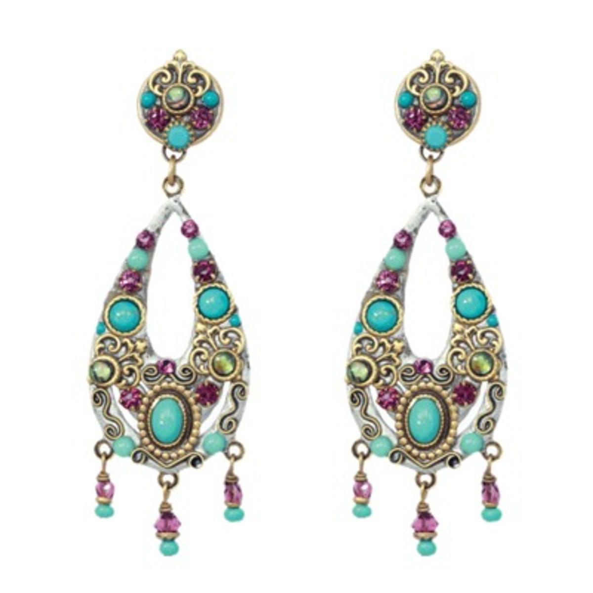 Michal Golan Earrings - Turkish Bazzar 2 Part Oval 3 Drops