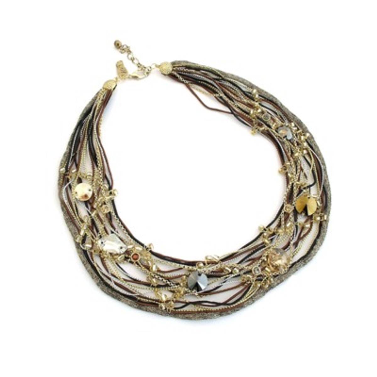 Anat Collection Natural Leather And Silk Necklace