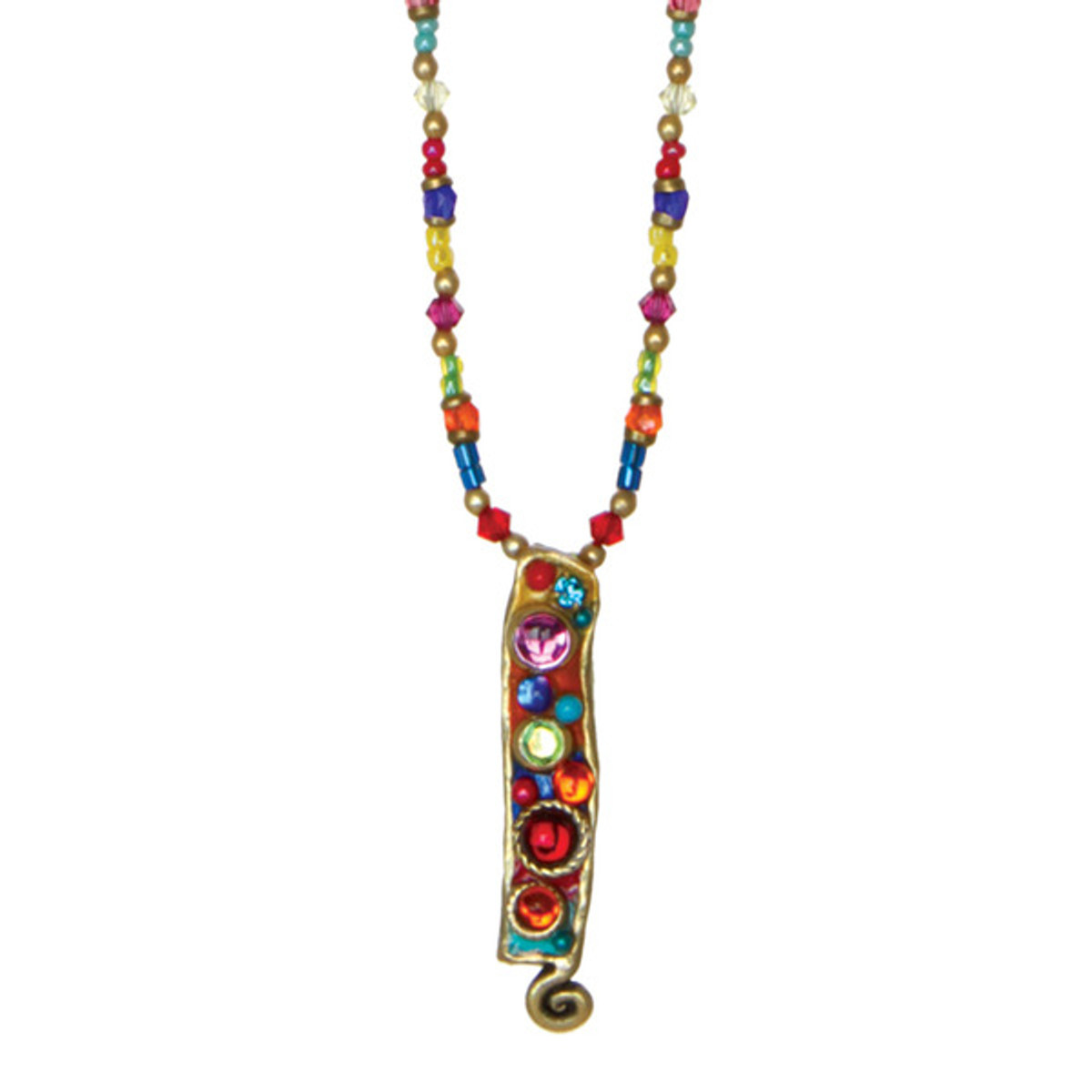 Michal Golan Confetti Long Rectangle Beaded Necklace