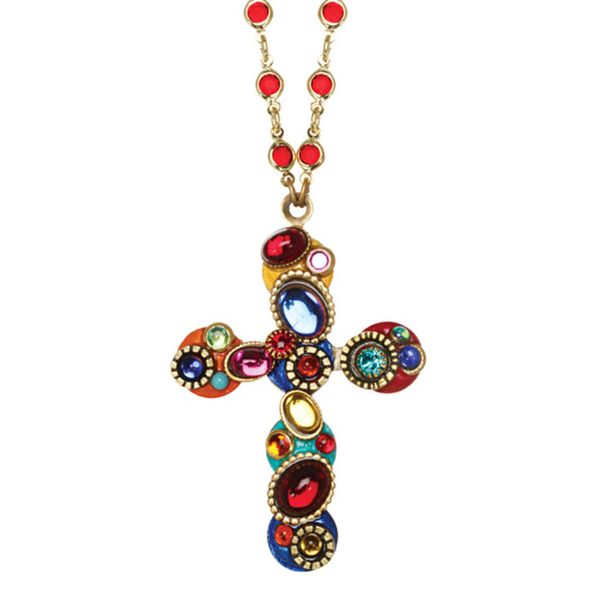 Michal Golan Confetti Cross Long Chain Necklace