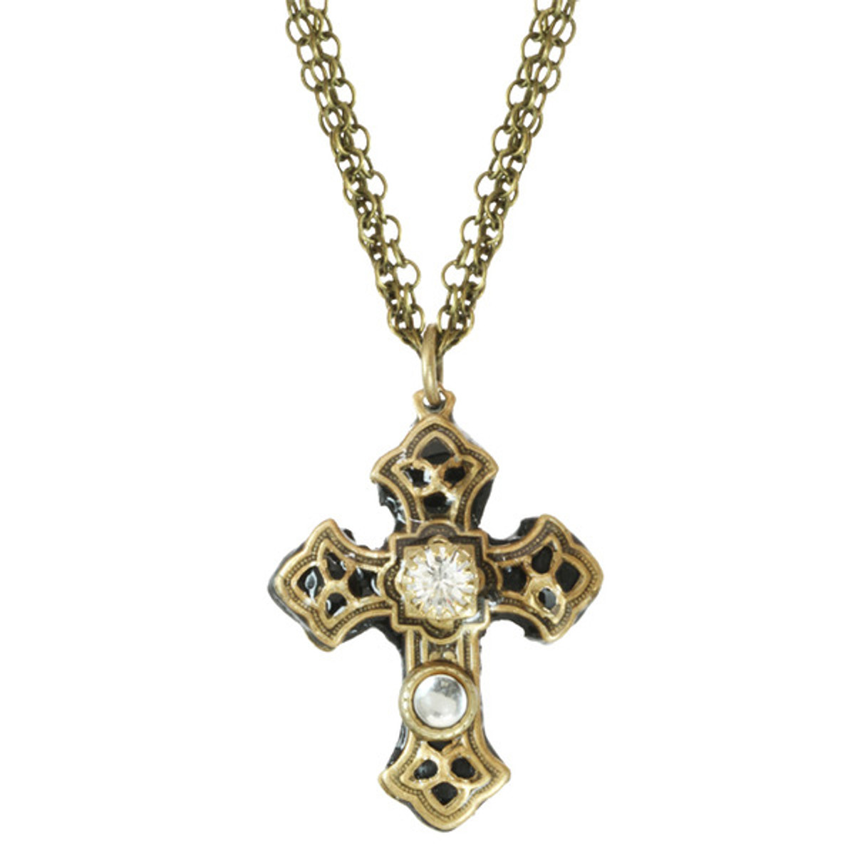 Michal Golan Cross With Crystal Centered Double Chain Necklace