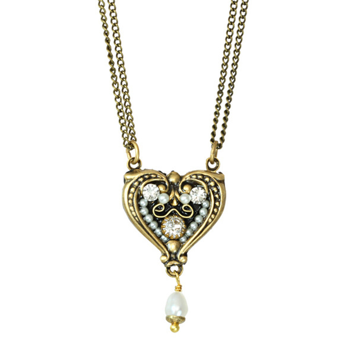 Michal Golan Deco Heart Pendant With Pearl Dangle