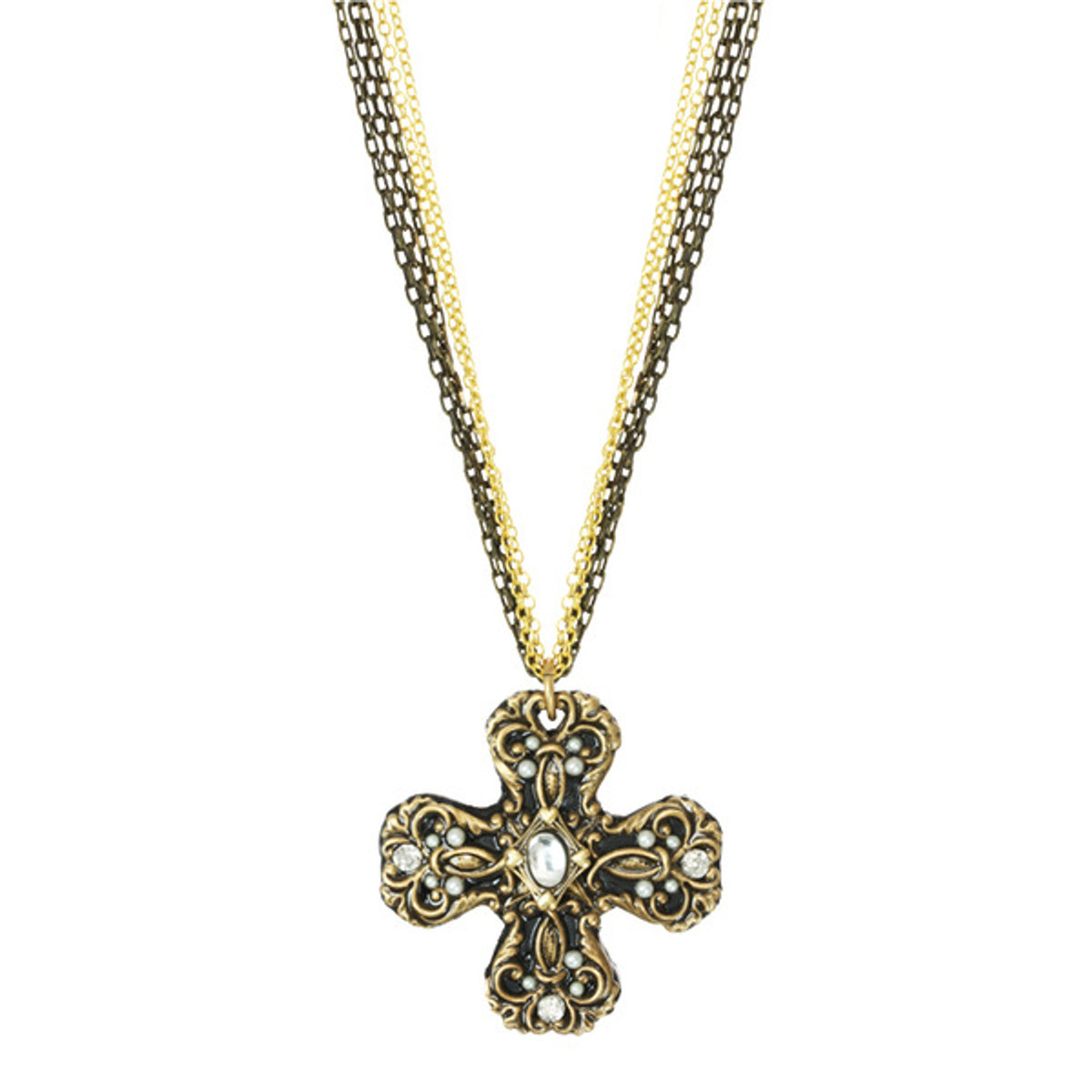 Michal Golan Cross Pendant With Pearl