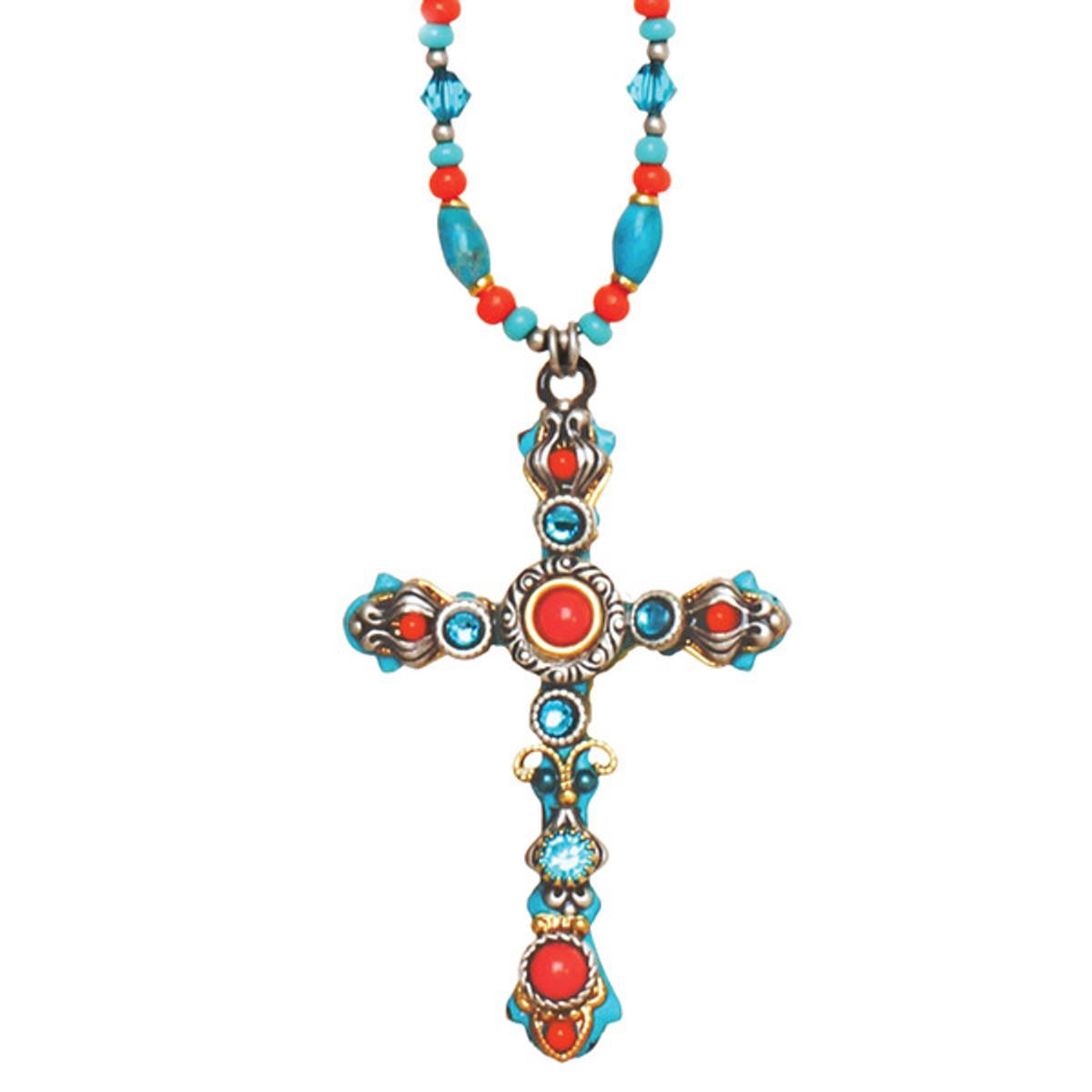 Michal Golan Cross Necklace Coral Sea