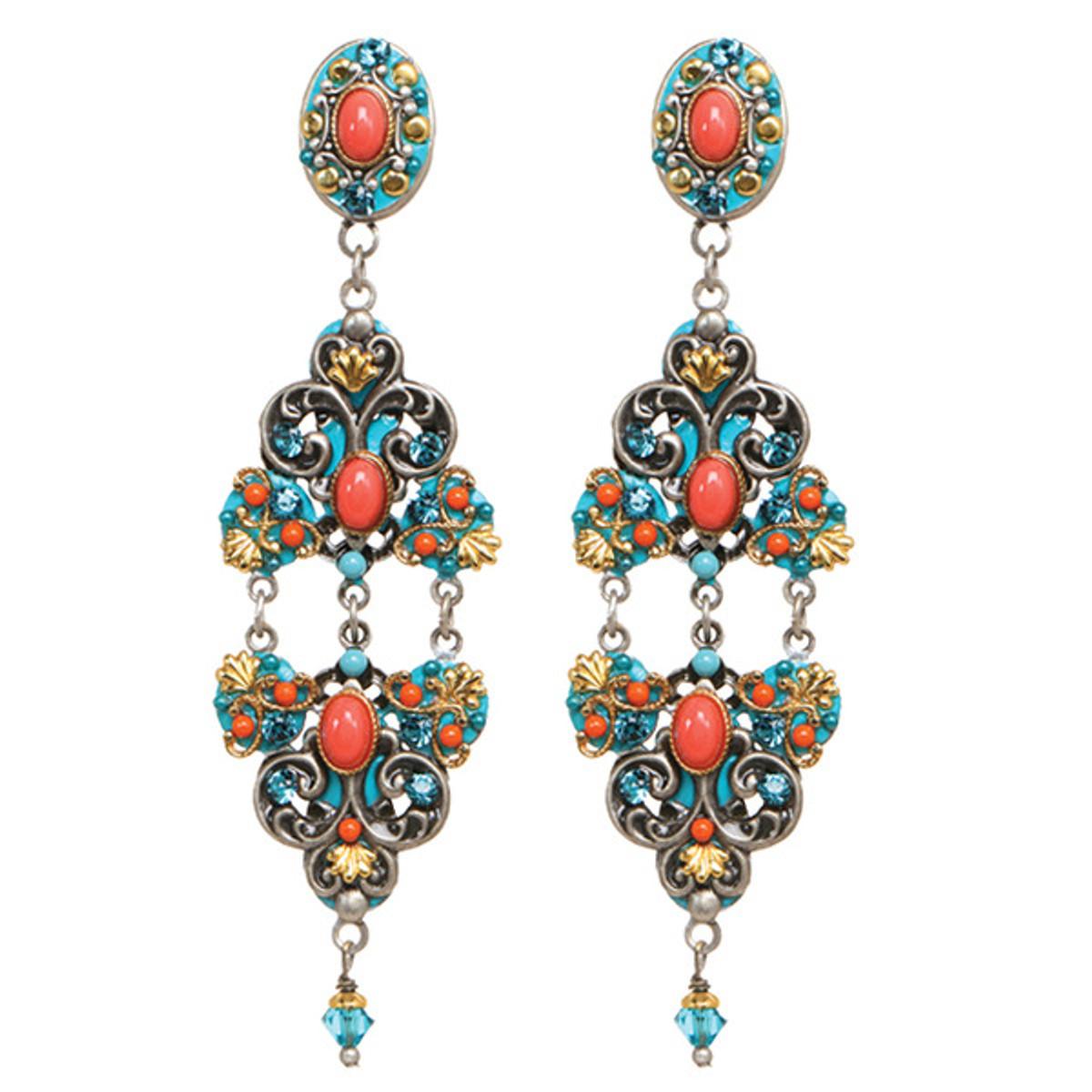 Michal Golan 3 Part Coral Sea Earrings