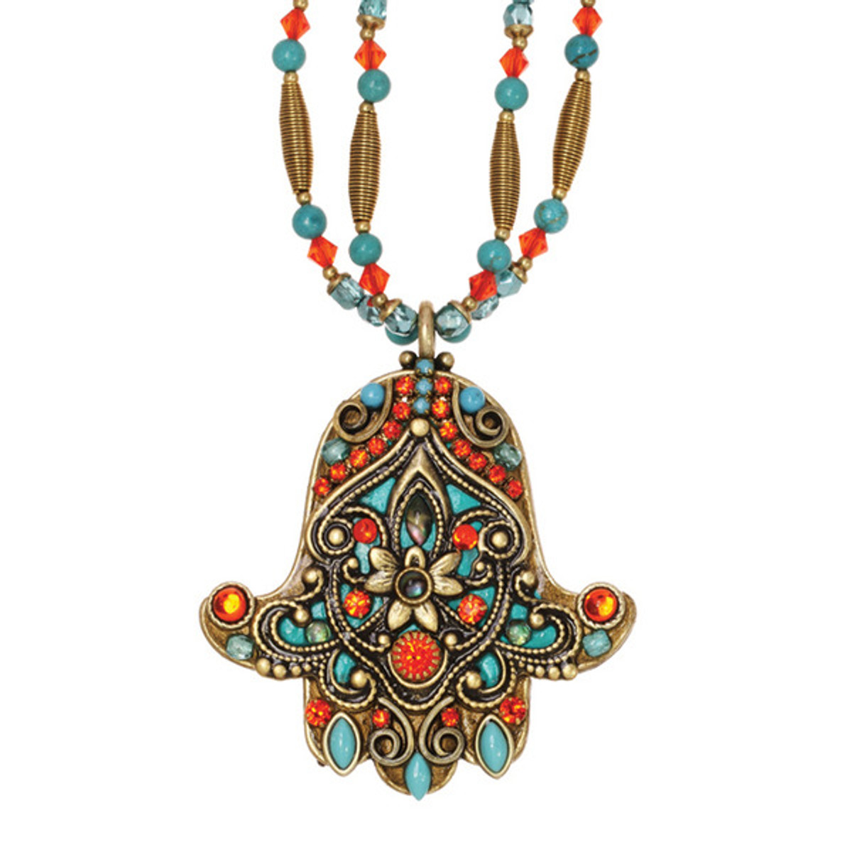 Coral And Teal Hamsa Necklace