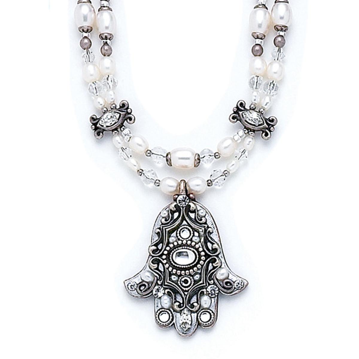 Pearl Hamsa Evil Eye Necklace