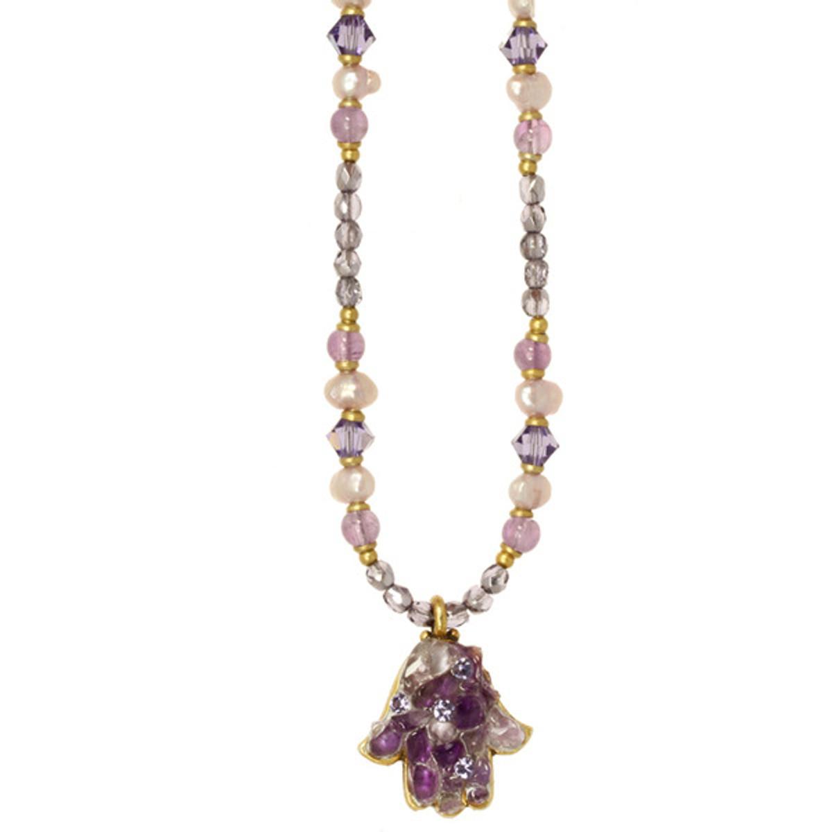 Small Purple Hamsa Necklace