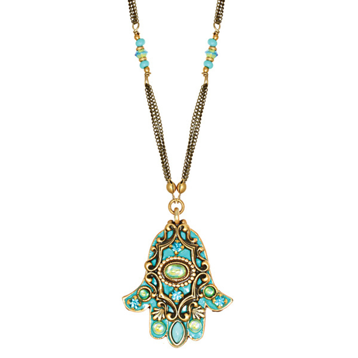 Evil Eye Blue Crystal Hamsa Necklace
