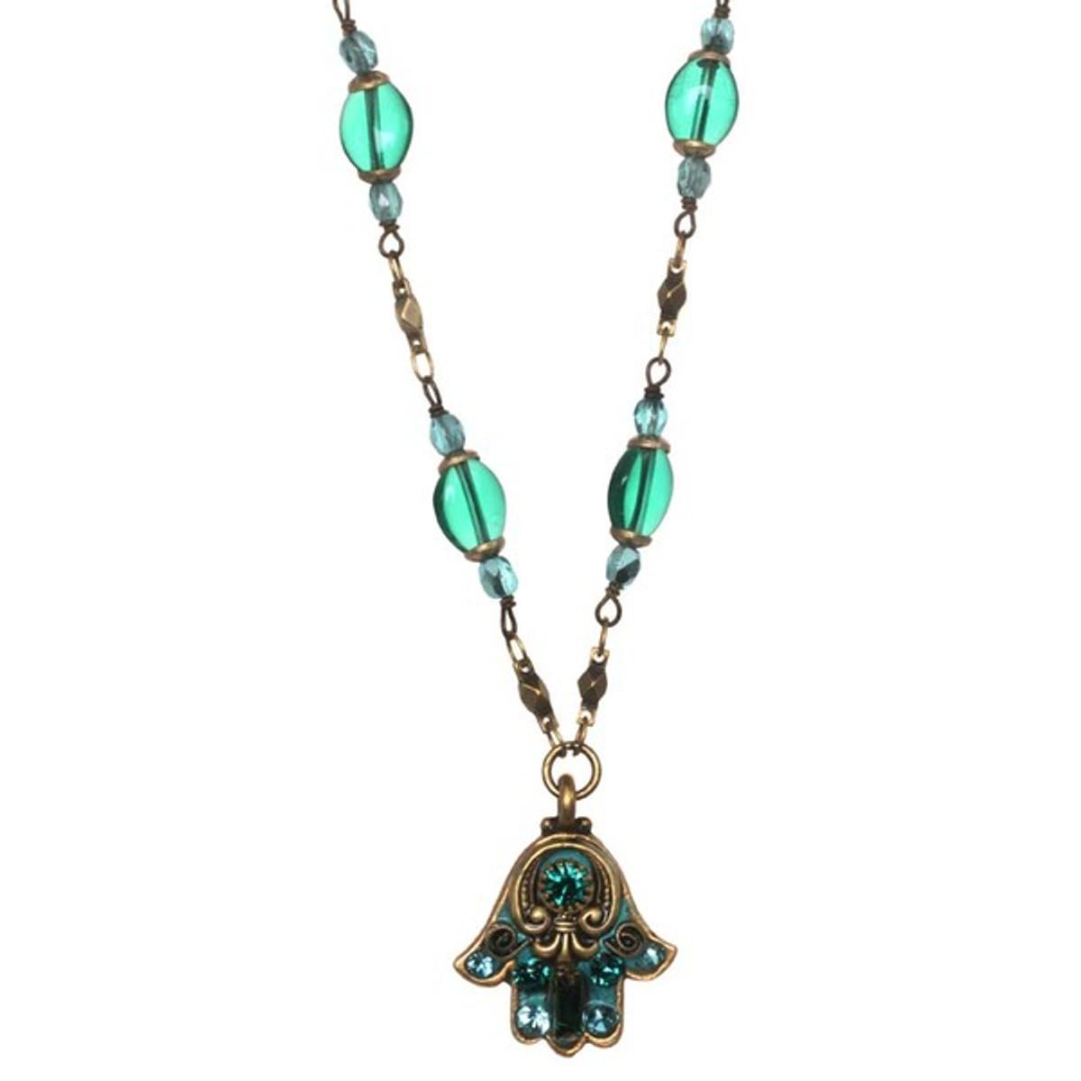Michal Golan Small Green Hamsa Necklace