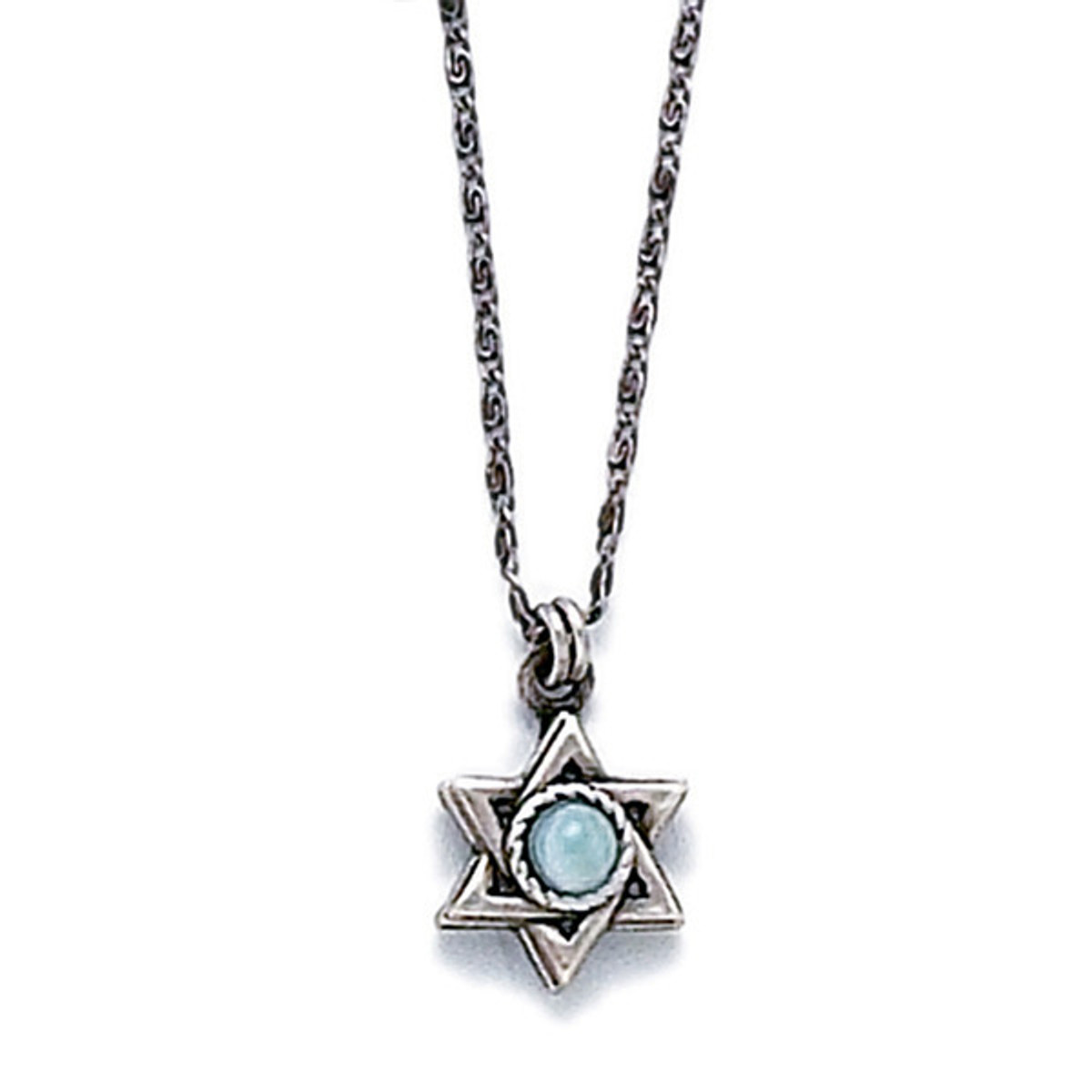 Silver Star Of David Pendant With Mother Pearl
