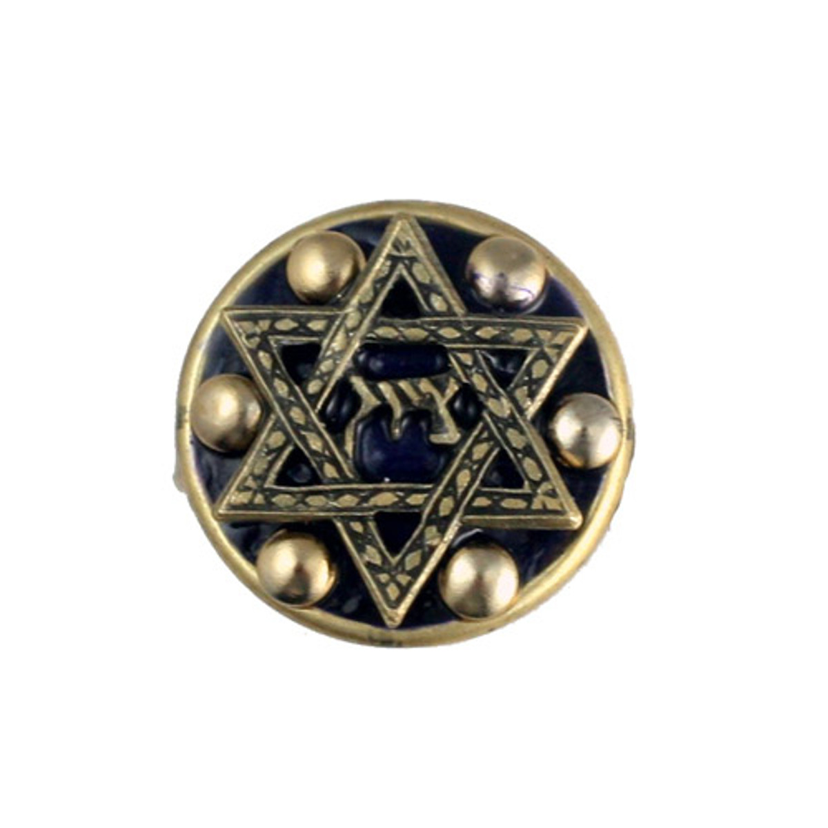Dark Blue And Gold Star Of David Ring